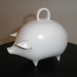 Pamela Barsky's sleek design makes this adorable piggy bank look tres chic.