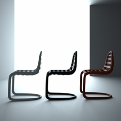 PAN_07 chair has often been described as the the first cantilever chair epitomizing the 21st century post industrial age.  First introduced during last year's salone del mobile it has won multiple design awards.