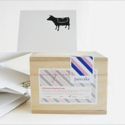 Pancake & Franks, run by Stacy Pancake, makes superb recycled letterpress greeting cards in gorgeous wood boxes out of San Francisco, CA.