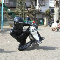 sometimes a single image says it all.  this mx ninja takes recess to a whole new level.  extreme panda riding anyone?