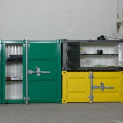 The PANDORA modular storage system shipping containers for your home or office. They're so cool! Available in three colours/sizes. By Sander Mulder.