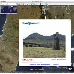 Google Earth added Panoramio to their new Geographic Web layer, just in time for my trip around the world!
