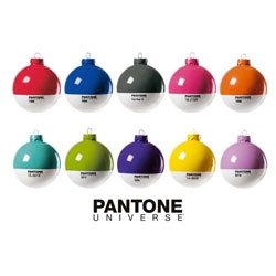 Pantone Xmas ornaments from Selab.