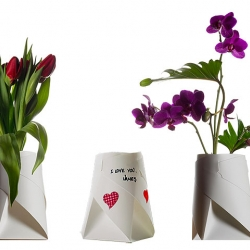 Vase made from a paper based material that's 100% water proof that looks cool too. Frank Kerdil's Noming Vases