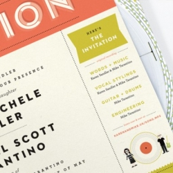 Wedding invitation doubles as paper record player, designed by Kelli Anderson.
