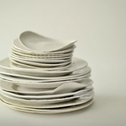"""Designer Virginia Sin's elegant collection of porcelain """"paper plates"""". Order them on her website or, if you're in New York you can see them at the upcoming Design Within Reach as part of their 'modern+design+function' exhibition next month."""