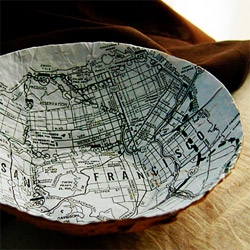 This cool Map Bowl from Liz Grotyohann is made from discarded used paper shopping bags and lined with a map of the Bay Area.