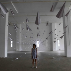 Amazing paper plane instillation by Dawn Ng.