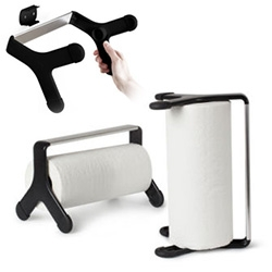 "Umbra tritow paper towel holder designed by Atlason. ""Tri""-part ways of dispensing paper towels: standing tall on one side, laid down on its pods or mounted from any wall surface."