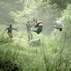 Parkour (PK) Roam Free Video from Land Rover USA ~ mesmerizing synchronized parkour in the wild set to Bach...