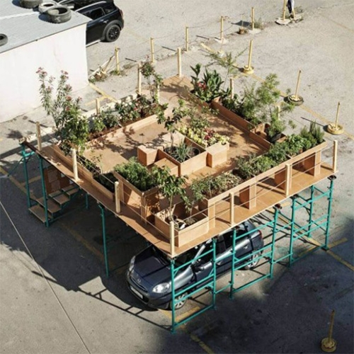 Urban Hives by Nathalie Harb at Beirut Design Week proposes to reintroduce the garden in parking lots. The proposed car-sized lightweight structure, raised above the car, is a lifted garden characterized by urban farming and beehives.