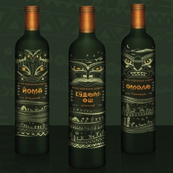 Unusually designed bottles of mysterious 'Parma' wine made of exotic berries and herbs. Visual style by Raya Ivanovskaya was inspired by folk motives of indigenous peoples of the North.