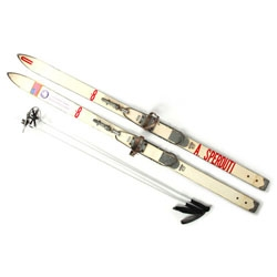 Beautiful vintage skis from Partners & Spade.