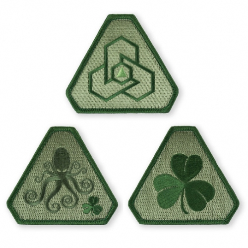 "Prometheus Design Werx PDW Patch Pack 33 - St. Patrick's Edition 2016! A lovely green trio of 2.5"" velcro patches."