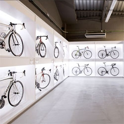 Pave, an incredible bicycle shop in Barcelona designed by architect Joan Sandoval.