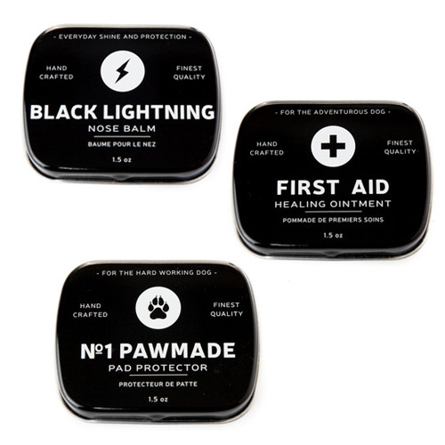 Loyal Canine Co. has cute packaging/branding on their No. 1 Pawmade, Black Lightning Nose Balm, and First Aid Ointment for dogs.