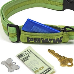 "Paww (from the same folks as HumanGear) Secret Agent Collar for your dog - ""the smart collar that carries stuff""... also check out their leashes with built in pockets."