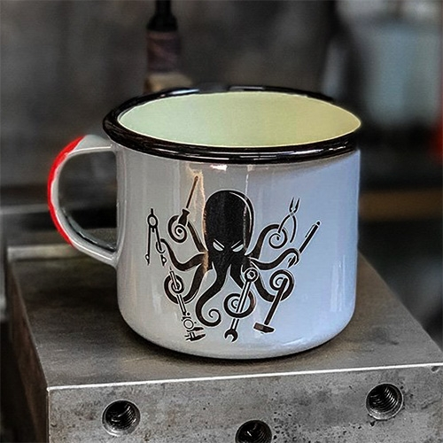 Prometheus Design Werx pair of SPD Kraken DIY + All Terrain Enamelware Mugs 16oz featuring the fun tool wielding octopus we love!