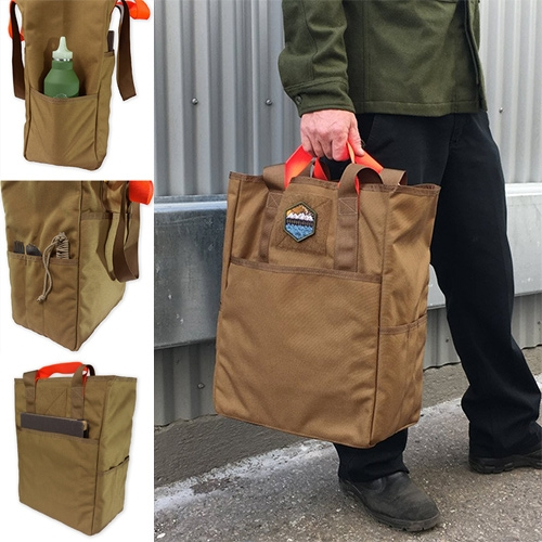 "Prometheus Design Werx CaB-2 ""Carry All Tote Bag"" made by Tinkerwork Shop, their version features short and long carry straps, 4 organizer pockets, and also perfectly nests the American paper grocery bag. In Black, Grey, Green, and Brown."