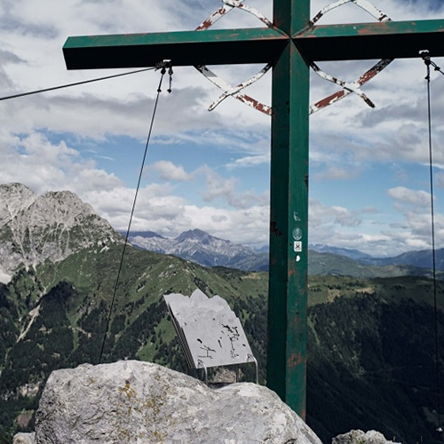 """Caterina Rossato """"Peak Diary - Pal Piccolo 1886m"""" - Laser cut stainless steel plates in Pal Piccolo, Passo di Monte Croce Carnico, FVG - IT that help visitors identify the various mountains."""