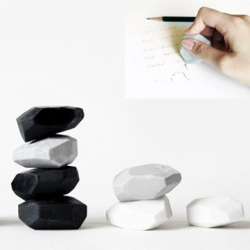 This pebble eraser from Megawing has lots of edges so you can be exact, plus, as you use it, it becomes rounder like a pebble. It's even won a Gold at the 2009 Taiwan International Design Competition!