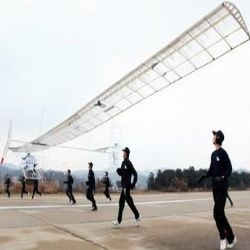 The Korean Air Force Academy has developed a pedal-powered aircraft, which uses human power to get off the ground.