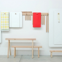 Peg is a family of furniture with diverse parentage. The shaker peg rail, the Korean wall hung table, the tinker toy and the lowly shop broom. By talented Studio Gorm.