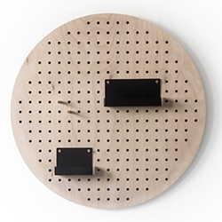 X-Holes by RMK Design for Kukka. A designer update to the usual pegboards... in circle and square designs.