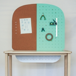 Studio Bup's Peggy desk sports a cork and pegboard back and is designed for small workspaces and apartments.