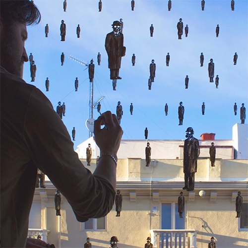 "Pejac ""It can't rain all the time"" - Magritte inspired, gas mask wearing, window paintings... a fantastic STAY ART HOME piece!"