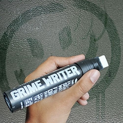 "Grime Writer Pen - ""a special chunky marker pen that can be filled with cleaning solution, and used to create art on a canvas of filth."" By Jakob for Suck UK"