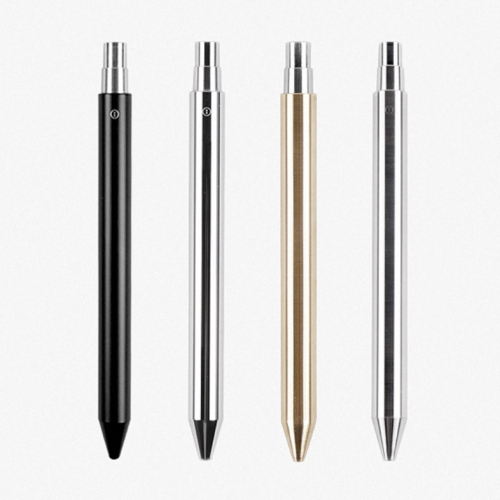 The all new INVENTERY Brass Mechanical Pens - in black oxide and chrome finish. Full machined brass unibody design. Designed by INVENTERY in Los Angeles.