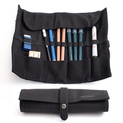 Delfonics Roll Pen Case - made out of sturdy cotton canvas, the case can fit up to 13 pencils or pens and other accessories.