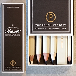 "The Pencil Factory - Each ""Nashville"" box set comes with one carpenter, one bridge, one white wax,  one no.2, one jumbo hex, and one jumbo round pencil. By Hester & Cook. Great packaging!"