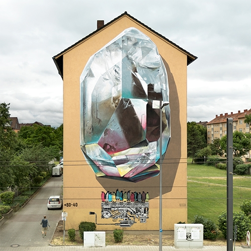 """Propagating machine"" is the latest mural realized by Swiss duo Nevercrew in Mannheim, Germany, for the Stadt.Wand.Kunst Project."