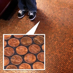 At the Standard Grill ~ under the highline in the Standard Hotel NY ~ the floor is tiled in pennies!!!