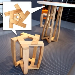Pentagon system, a series of tables and stools by Itamar Burstein. The pieces are constructed from five identical parts that have the shape of an upside down U! Beautiful details.