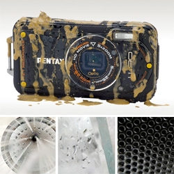 Pentax Optio W90 - nearly life*proofed! Waterproof, heat/cold-proof, drop-proof, sand-proof, kitchen-proof, pet/kid-proof? And shoots 720p HD video + microscope mode... Giving it a test run in the shower, at the airport, etc.