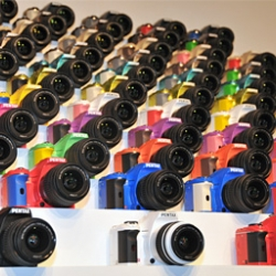 Pentax has released K-x series, single-lens reflex cameras with 100 color variations.