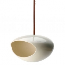 Birdfeeder handmade by Perch! in Brooklyn, designed by Amy Adams out of low-fire ceramic, non toxic glaze, and natural leather cord... designed in 2002