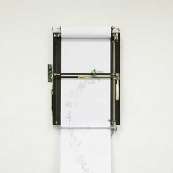 """The """"Perpetual Storytelling Apparatus"""" is a drawing machine illustrating a never-ending story by the use of patent drawings. A project by Julius von Bismarck & Benjamin Maus."""