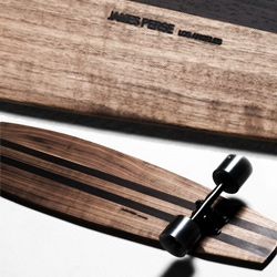 James Perse Limited Edition Skateboard - Made in Los Angeles, each is unique and individually handcrafted from select solid walnut planks accented with solid wenge strips for added stability