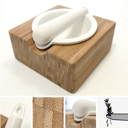 Porcelain and Bamboo ~ Kuhn Rikon Mortar & Pestle ~ perfect for all kinds of mashing ~ and there's something so beautiful about the mix of materials, and how they nicely stack together...