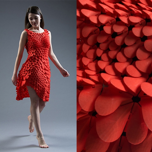 Nervous System Kinematic Petals Dress is a new 3D printed gown inspired by petals, scales, and feathers.