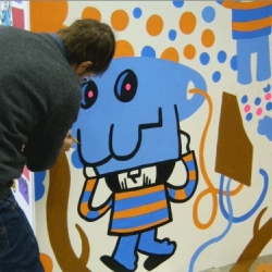 Monsterist Pete Fowler took part in some monstrous live painting at the NOISE Lab, Manchester, UK