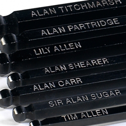 British Designer Pete Dungey did a 2009 survey to find out who the most famous Alan (or Allen) is.