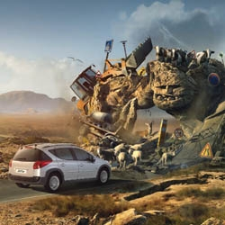 """""""It ain't afraid of nasty road."""" This is the wonderful idea for advertise the new Peugeot 207 SW-Outdoor. Agency is BETC Euro RSCG, Paris."""