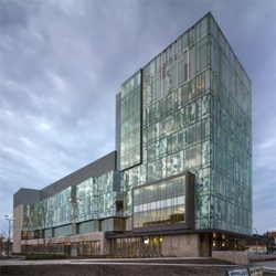 Sleek facade for the University of Waterloo's School of Pharmacy, designed by canadian architects Hariri & Pontarini.
