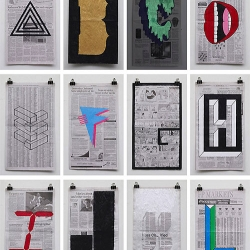 A beautifully designed alphabet on scrap sheets of newsprint, by Phil Yamada.