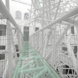 A new five-story creation called the Zellig Sculpture, which contains three glass bridges and 2000 meters of steel tubing, has been created inside the Custard Factory by Nottingham based design firm Philip Watts.